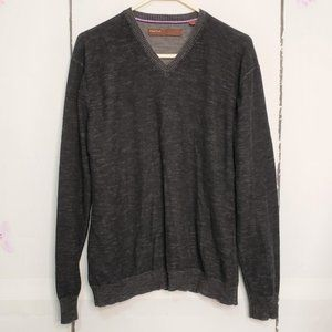Perry Ellis Charcoal V-Neck Long Sleeve Sweater L